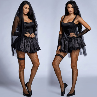 Halloween Cosplay Ghost Bride Black Sling Lace Dress Costume Nihaostyles Wholesale Halloween Costumes NSPIS82039