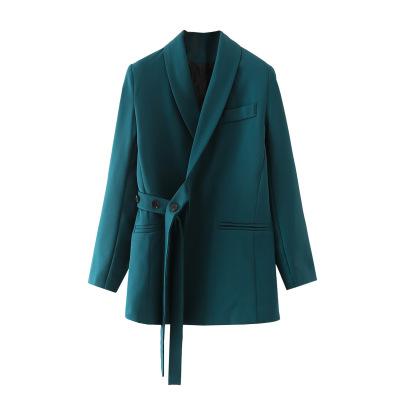 Women's Irregular Green Long Coat Nihaostyles Wholesale Clothing NSAM82064