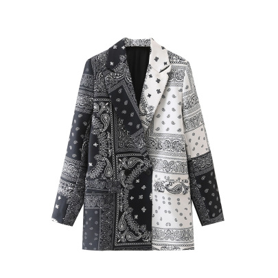 Women's Color Matching Printed Blazer Nihaostyles Wholesale Clothing NSAM82067