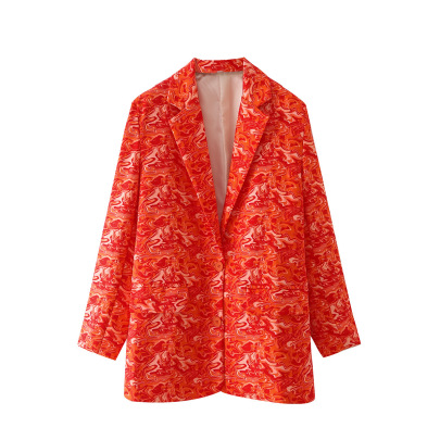 Women's Orange Printing Blazer Nihaostyles Wholesale Clothing NSAM82075