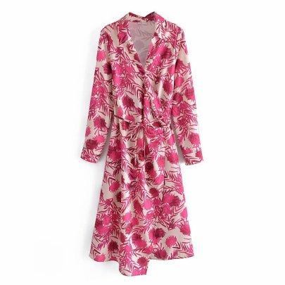 Women's Print Lace Up Lapel Dress Nihaostyles Wholesale Clothing NSAM82080
