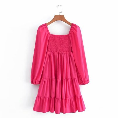 Women's Square Collar Stretch Receiving Waist Puff Sleeve Dress Nihaostyles Wholesale Clothing NSAM82101
