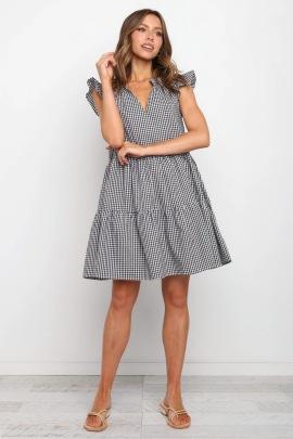 Summer V-neck Plaid Ruffled Sleeves Dress Nihaostyles Wholesale Clothing NSJRM82113