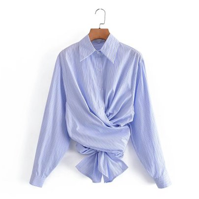 Striped Loose Hem Lace-up Shirt Nihaostyles Wholesale Clothing NSAM82148