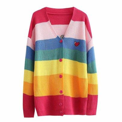 Rainbow Stripe V-neck Knitted Sweater Cardigan Nihaostyles Wholesale Clothing NSAM82149