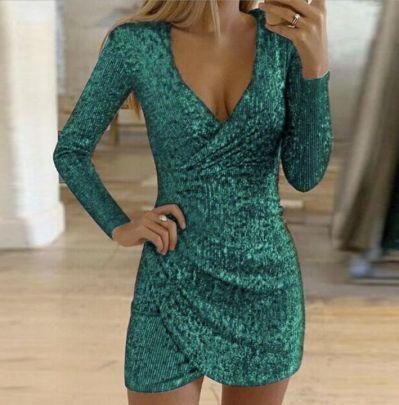 Autumn Sexy V-neck Package Hip Irregular Sequin Dress Nihaostyles Wholesale Clothing NSJRM82009