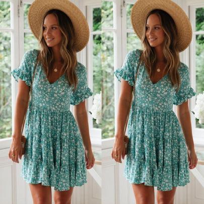 Women's V-neck Pleated Dress Nihaostyles Wholesale Clothing NSJRM82051