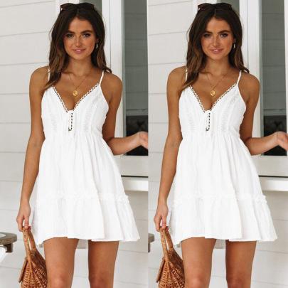 Summer Sexy  Lace Stitching Backless Sling Dress Nihaostyles Wholesale Clothing NSJRM82052