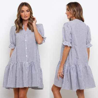 Summer Striped Single-breasted Shirt Cardigan Dress Nihaostyles Wholesale Clothing NSJRM82056