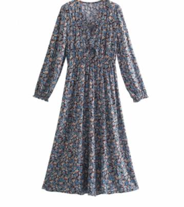 Long-sleeved Print Receiving Waist Dress Nihaostyles Wholesale Clothing NSAM82060