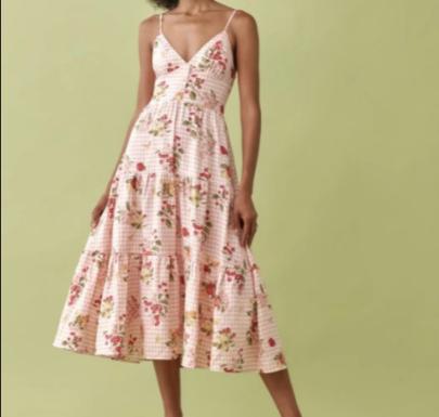 Autumn Retro Plaid Fruit Cherry Print V-neck Sling Dress Nihaostyles Wholesale Clothing NSAM82102