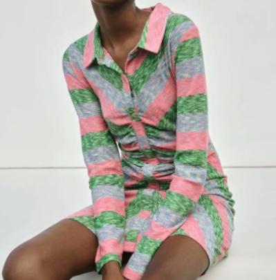 Women's Wrinkled Print Shirt Dress Nihaostyles Wholesale Clothing NSAM82120