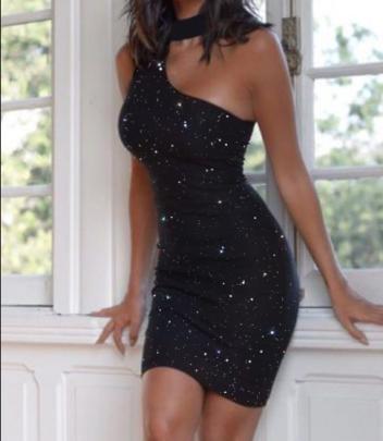 Women's Hot Drilling One-shoulder Halterneck Package Hip Dress Nihaostyles Wholesale Clothing NSJRM82003
