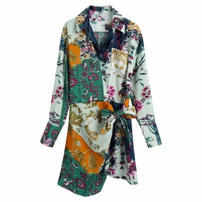 Autumn Print Receiving Waist Shirt Dress Nihaostyles Wholesale Clothing NSAM82122