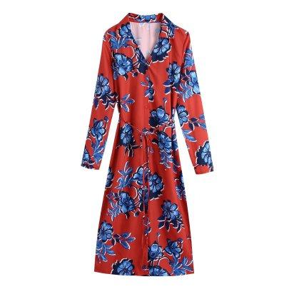 Autumn V Neck Print Midi Dress Nihaostyles Wholesale Clothing NSAM82136