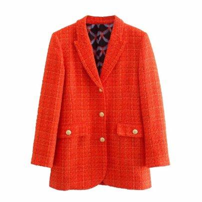 Autumn Print On The Lining Slim Blazer Coat Nihaostyles Wholesale Clothing NSAM82117