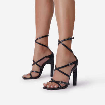 Square Toe Cross Strap High-heeled Sandals Nihaostyles Wholesale Clothing NSSO82153