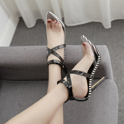 Pointed Toe Color Matching Cross Strap Stiletto Sandals Nihaostyles Wholesale Clothing NSSO82154