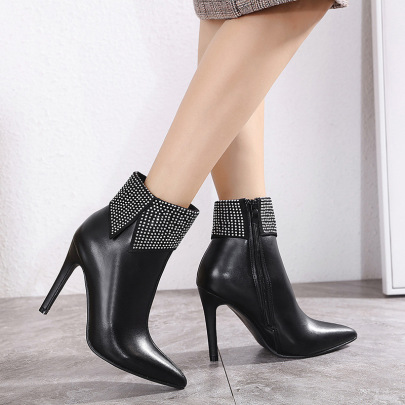 Pointed Toe Rhinestone Side Zipper Short High-heeled Boots Nihaostyles Wholesale Clothing NSSO82159