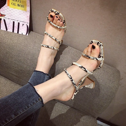 Square Toe Snake Pattern Wine Glasses High Heeled Sandals Nihaostyles Wholesale Clothing NSSO82163