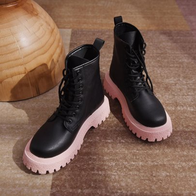Autumn And Winter Round Toe Color Matching  Thick Heel Thick-soled Martin Boots Nihaostyles Wholesale Clothing NSDFX82172