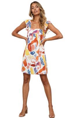 Summer Square Collar Backless Sling Print Dress Nihaostyles Wholesale Clothing NSJRM82176