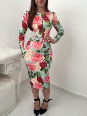 Autumn And Winter Floral Print With Belt Package Hip Dress Nihaostyles Wholesale Clothing NSJRM82177