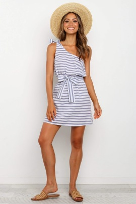 Summer Sexy One-shoulder Lace-up Striped Dress Nihaostyles Wholesale Clothing NSJRM82179