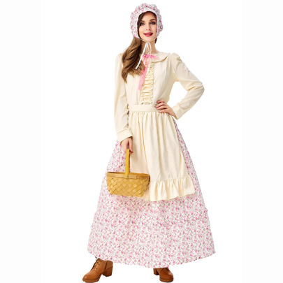 Halloween Cosplay Granny Wolf  Pastry Chef  Pastoral Maid Floral Dress Nihaostyles Wholesale Halloween Costumes NSPIS82182