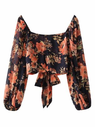 Square Collar Bubble Lantern Sleeves Print Short Top Nihaostyles Wholesale Clothing NSAM82204