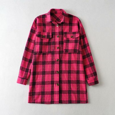 Double-sided Casual Plaid With Pocket Long Shirt Nihaostyles Wholesale Clothing NSAM82206