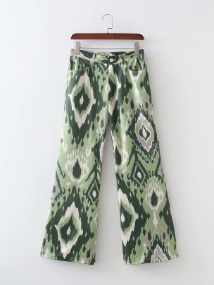 Summer Women's Slim Print Casual Straight Pants Nihaostyles Wholesale Clothing NSAM82212