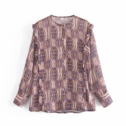 Retro Round Neck Print Single-breasted Casual Shirt Nihaostyles Wholesale Clothing NSAM82216