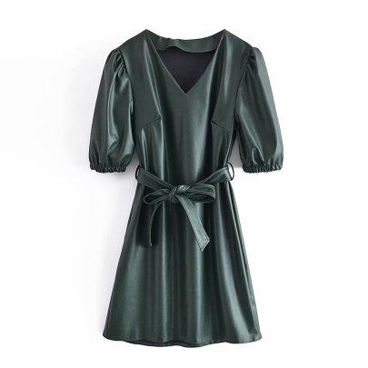Summer V-neck Thin Imitation Leather Lace Up Dress Nihaostyles Wholesale Clothing NSAM82217