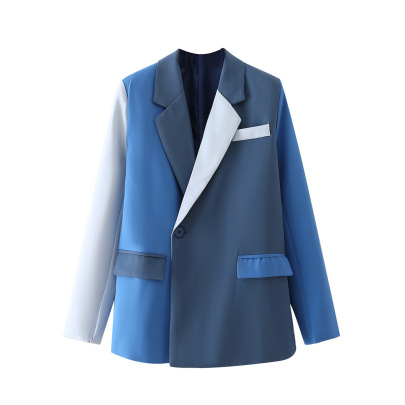 One Grain Of Buttons Color Matching Blazer Nihaostyles Wholesale Clothing NSAM82229