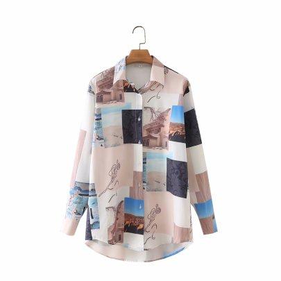 Autumn Desert Print  Blouse Nihaostyles Wholesale Clothing NSAM82234