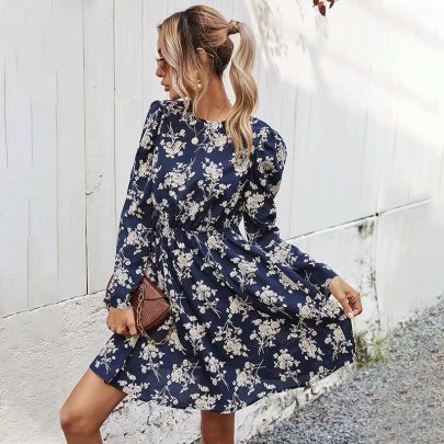 Autumn Round Neck Long-sleeved Floral Dress Nihaostyles Wholesale Clothing NSAM82236