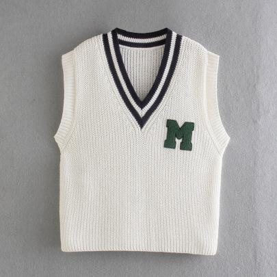 V-neck Sleeveless Knitted Sweater Vest Nihaostyles Wholesale Clothing NSAM82241