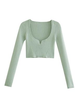 V-neck Slim Knitted Short Sweater Nihaostyles Wholesale Clothing NSAM82246