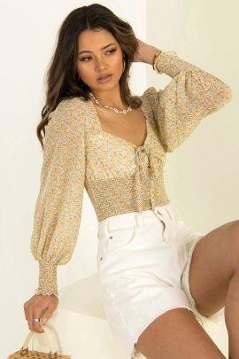 Autumn V Neck Lace Up Lantern Sleeve Chiffon Shirt Nihaostyles Wholesale Clothing NSAM82250