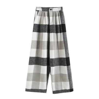 Autumn Plaid Wide Straight Leg Pants Nihaostyles Wholesale Clothing NSAM82252