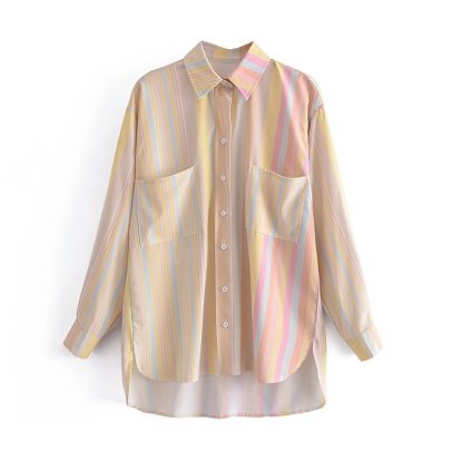 Autumn Colorful Striped Shirt Nihaostyles Wholesale Clothing NSAM82262