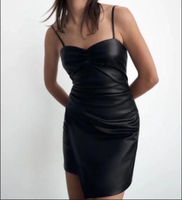 Autumn Imitation Leather Pleated Sling Dress Nihaostyles Wholesale Clothing NSAM82259