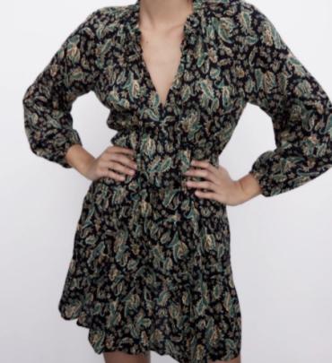 Autumn V-neck Print Pleated Dress Nihaostyles Wholesale Clothing NSAM82245