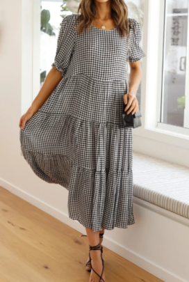 Spring And Summer Plaid Print Pleated Dress Nihaostyles Wholesale Clothing NSJRM82175