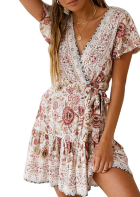 Summer Sexy V-neck Print Lace Up Dress Nihaostyles Wholesale Clothing NSJRM82178