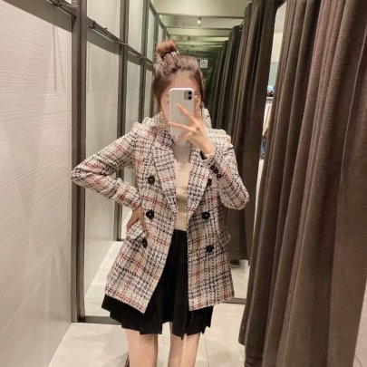 Autumn Retro Plaid Texture Suit Coat Nihaostyles Wholesale Clothing NSAM82195