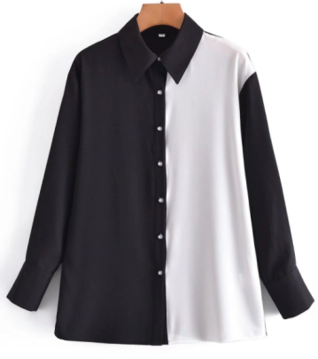 Black And White Stitching Contrast Color Shirt Nihaostyles Wholesale Clothing NSAM82235
