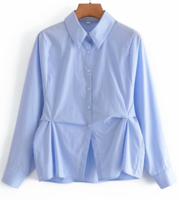 Autumn Lapel Solid Color Pleated Shirt Nihaostyles Wholesale Clothing NSAM82233