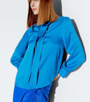 Bow-knot Collar Silk Satin Texture Shirt Nihaostyles Wholesale Clothing NSAM82214